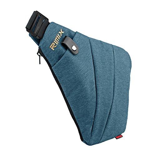 RIMIX Multi-purpose Anti-thief Hidden Security Bag Underarm Shoulder Armpit Messenger bag Sports Leisure Chest Bag Portable Backpack for Phone Money Passport Tactical Bag (Blue/For Right Handed)