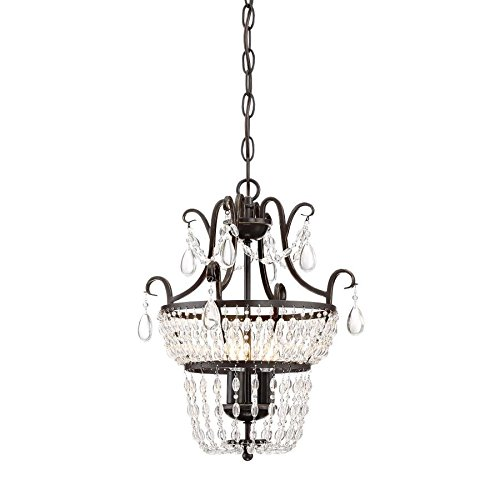 Quoizel Trista 13.6-in 3-Light Oil-Rubbed Bronze Crystal Hardwired Cage Mini Chandelier (Quoizel Lighting Light Mini Chandelier)