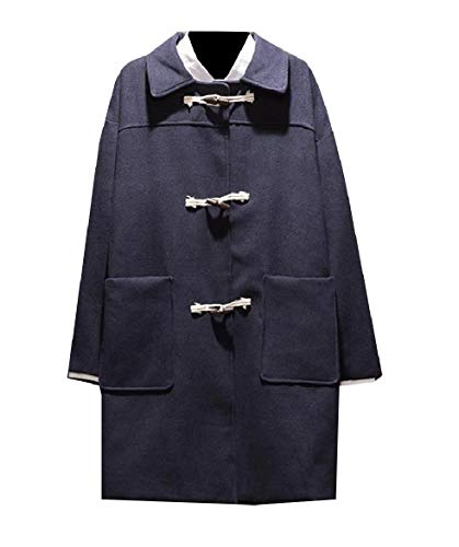 Turn Pockets Thick blue Casual Collar Trench Howme Wool Coat Blend Navy Men Down qwUt08