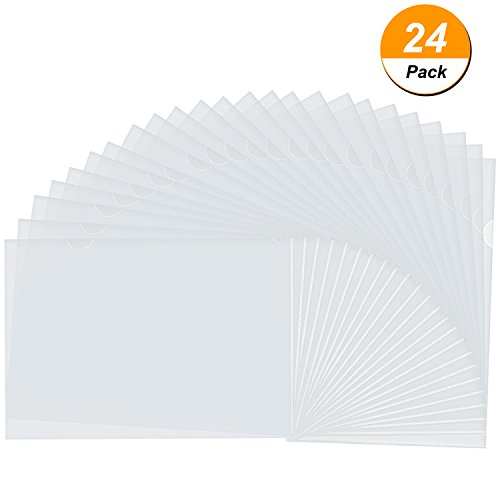 Clear Pocket Folders (Bememo 24 Pack Clear Transparent Document Folder Copy Safe Project Pockets, A4 Size)