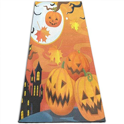 lychi Happy Halloween Pumpkin Funny Yoga Mat-All-Purpose High Density Non-Slip Exercise Unique Yoga Mats for All Types of Yoga, Pilates & Floor Exercises (70