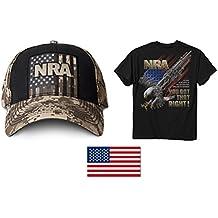"""NRA Tan Digi Hat + Men's NRA-You Got That Right T-Shirt + American Flag Decal 2"""" X 3"""""""
