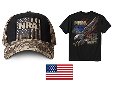"Price comparison product image NRA Tan Digi Hat + Men's NRA-You Got That Right T-Shirt XL + American Flag Decal 2"" X 3"""