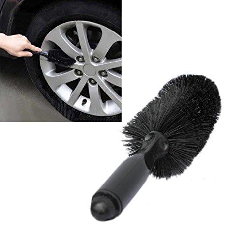 GOTD Car Vehicle Motorcycle Wheel Tire Rim Scrub Brush Washing Cleaning Tool Cleaner (Black)