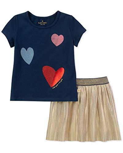 Kate Spade New York Kids Baby Girl's Tossed Hearts Skirt Set (Infant) New Navy 12 Months