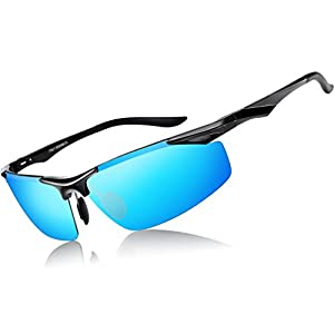 ATTCL Men's Sports Polarized Sunglasses Driver Golf Fishing Al-Mg Metal Frame (Fashion Blue, 2206)