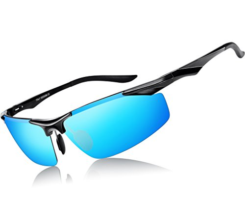 ATTCL Men's Sports Polarized Sunglasses Driver Golf Fishing Al-Mg Metal Frame (Fashion Blue, - Review Polarized Sunglasses