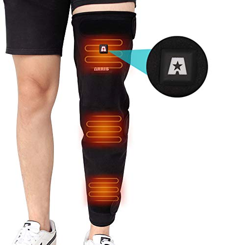 ARRIS Full Leg Heated Wrap - Electric Heating Pad for Knee, Calf, Thigh, Leg, Arm - 7.4V Battery Powered Heat Brace for Increasing Circulation, Relieve Joint, Rheumatic Arthritis Pain, for Men Women
