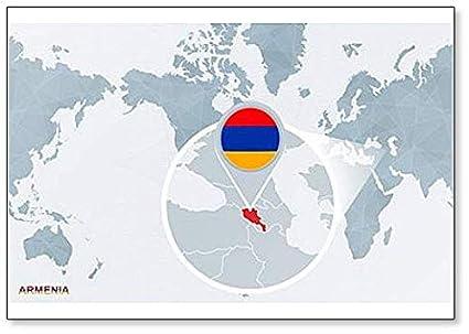Amazon Com World Map Centered On Armenia Classic Fridge Magnet