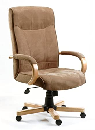 GUILDFORD Suede Effect Brown Office Chair With Oak Arms And Base:  Amazon.co.uk: Kitchen U0026 Home