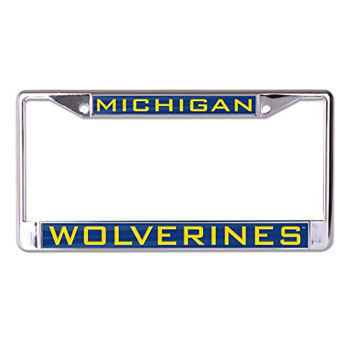 WinCraft NCAA Michigan Wolverines Inlaid Metal License Plate Frame, 2-Tag Corners