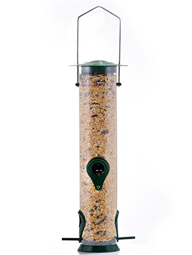 Tall, tube-type bird feeder with a clear, plastic body.