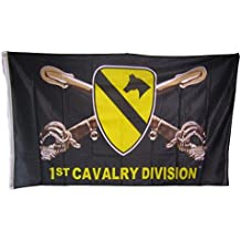 3x5 1st Cavalry Division Black Knitted Nylon Premium Flag 3'x5' House Banner Double Stitched Fade Resistant Premium Quality