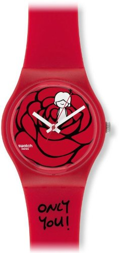 Swatch GZ264 catch my heart red plastic strap red dial women watch NEW