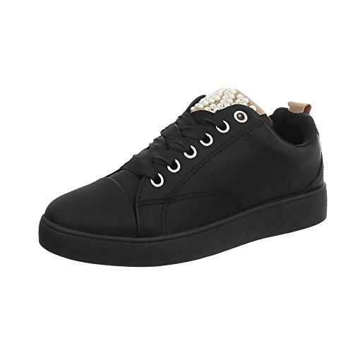 Negro Zapatos Mujer Bajas Zapatillas Zapatillas para 7555 Plano Design Ital w4anq85OW