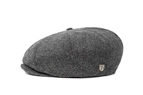 (Brixton Men's Brood Newsboy Snap Hat, Grey/black herringbone, X-Small)