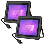 WELKEY PLUS 2 Pack 80W UV LED Black Light Flood Light with Plug(6ft Cable), IP66 Waterproof, for Blacklight Party, Stage Lighting, Aquarium, Body Paint, Fluorescent Poster, Neon Glow, Glow in The Dark