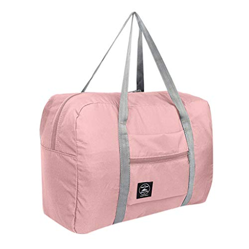 Kiminana Canvas Bag Leather Weekend Bag Carry On Travel Bag Luggage Oversized Holdalls for Men and Women Pink