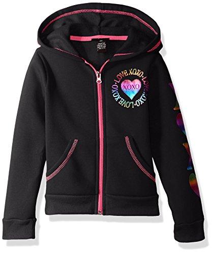 XOXO Little Girls' Fleece Logo Hoodie, Black Heart, 5/6