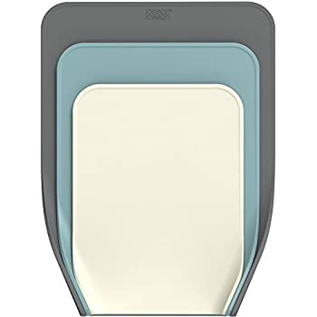 Joseph Joseph 60122 Nest Chop Set of Nesting Plastic Cutting Boards 13.25-inch x 10-inch Chopping Board Kitchen Prep Mat with Curved Edges to Guide Food Non-Slip Base Dishwasher Safe, 3-piece, Gray