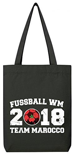 ShirtStreet Marokko Fußball WM Fanfest Gruppen Premium Bio Baumwoll Tote Bag Jutebeutel Stanley Stella Team Marocco Black