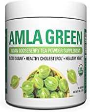 Organic AMLA GREEN Tea Powder – Great Tasting, 20x Concentrated Amla + Oolong Tea Antioxidant Blend – Raw, Vegan, Organic, No