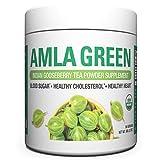 Organic AMLA GREEN Tea Powder – Great Tasting, 20x Concentrated Amla + Oolong Tea Antioxidant Blend – Raw, Vegan, Organic, Non-GMO, Amla Powder