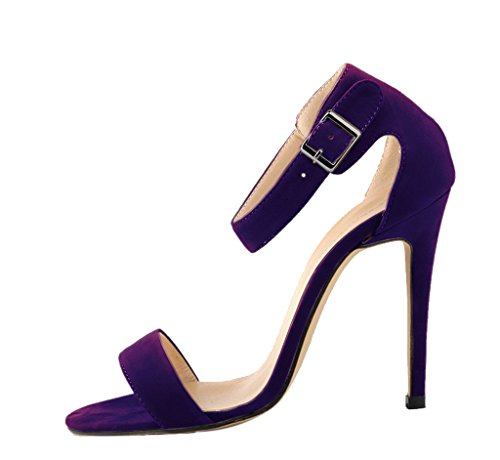 purple Sandals Casual Ankle Toe Pumps Stiletto Women's High Open Evening Strap velveteen Heels 0POqS
