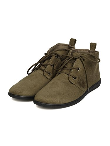 Round Suede Women Bootie Toe Khaki Faux Refresh Desert Lace FH51 Up t1Bw6naq