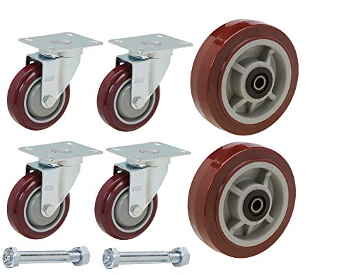 (U-Boat Cart Caster and Wheel Replacement Kit | Includes 4 Corner Casters and 2 Center Wheels with Axles and Mounting Bolts)