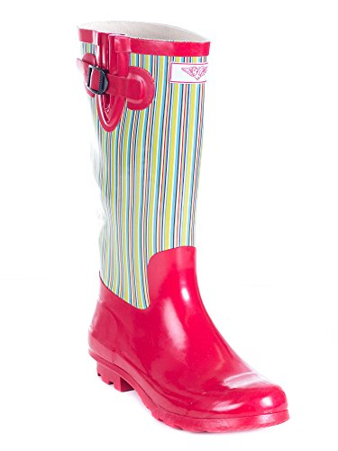 Forever Young Women Rubber Rain Boots, Retro Red Design 11 by Forever Young