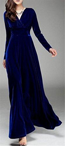 Swing Jewelry Winter Dresses Velvet Cross Womens Fashion Blue Neck V Long Cruiize nqvF7T1wx