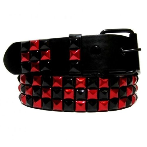 [Dabung Themed Alternative Punk Goth Metal Emo Skater Pyramid Studded Belts -Black-Red/XL] (Emo Belt)