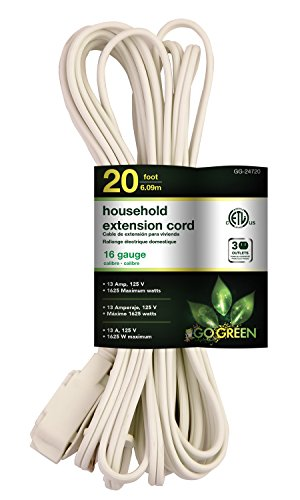 GoGreen Power GG-24720 16/2 20' Household Extension Cord - -