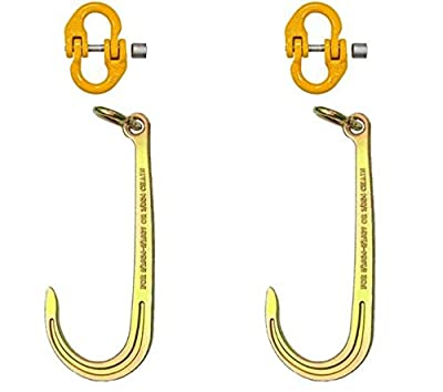 "Set of Two BA Products N711-2L-x2, G8-516ACL-x2 16"" Long G70 J Hooks with Link and Two G80 Alloy Coupling Links for Chain, Winch, etc."