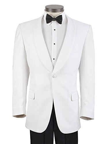 Para Hombre Mens White Shawl Lapel Formal Single Button Modern Fit Dinner Wool Jacket Tuxedo Suit