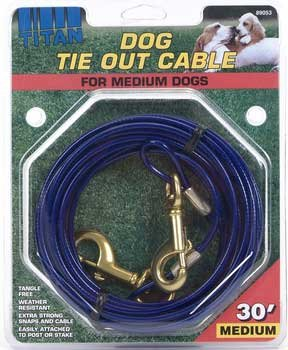 edium Cable Dog Tie Out 30 Feet, For dogs up to 50lbs (Coastal Pet Cable Tie Out)