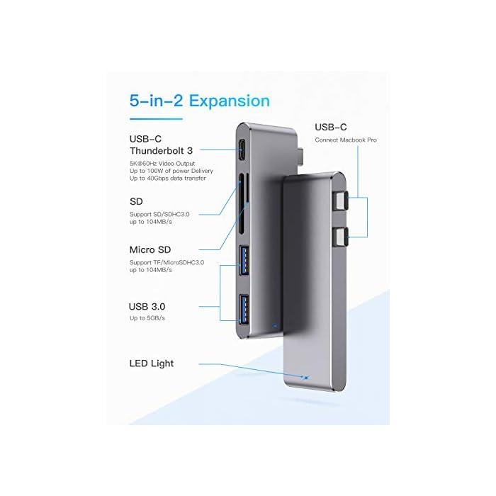 41HbTq79R4L Haz clic aquí para comprobar si este producto es compatible con tu modelo : Material de aluminio de alta calidad con el mismo color y apariencia que el MacBook. Diseñado para MacBook Air 2018, MacBook Pro 2018/2017/2016 con puerto thunderbolt 3, 2 puertos USB 3.0, lector de tarjetas micro SD / SD .MOKAI START USB 3.0 Hub es el compañero perfecto para tu MacBook Pro para mejorar la productividad. : El puerto Thunderbolt 3 admite suministro de energía de 100 W, salida de video de 5K a 60Hz y hasta 40 Gbps con dispositivos Thunderbolt y hasta 10 Gbps con dispositivos USB 3.1 Gen 2.