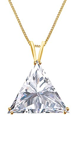 Jewel Zone US Trillion Cut White Cubic Zirconia Solitaire Pendant Necklace in 10K Solid Gold (1 - Necklace Trillion 10k