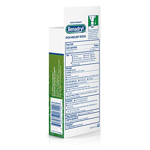 Benadryl Extra Strength Itch Relief Stick, Diphenhydramine Topical Analgesic and Zine Acetate Skin Protectant to Relieve Skin Itching and Pain, Travel Size, 0.47 fl. oz by Benadryl (Image #7)