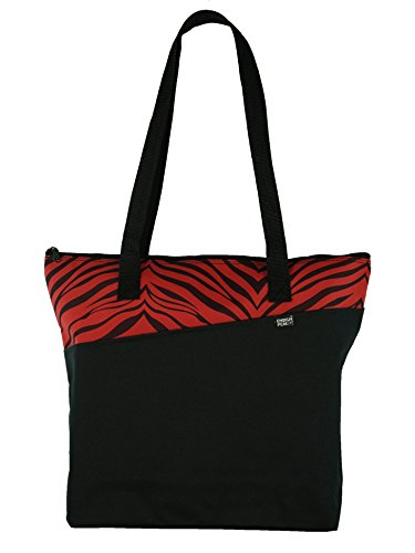 Designer Zipper Tote Bag (Red Zebra) -