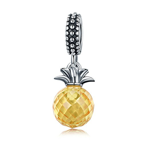 Everbling Crystal Sweet Fruits Apple Pineapple Watermelon Cherries 925 Sterling Silver Bead Fits European Charm Bracelet (Yellow Crystal Pineapple Dangle) ()