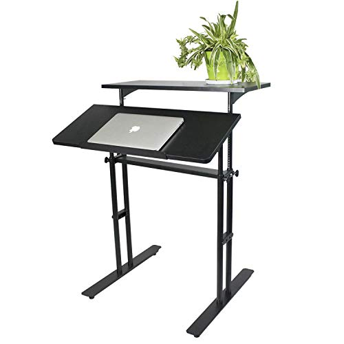 Heyesk Stand Up Desk Height Adjustable Home Office Desk with Standing (Black) by heyesk (Image #7)