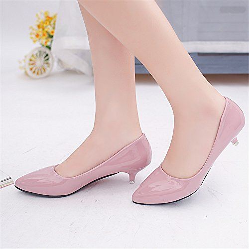 LIVY zapatos de color rosa señalaron los zapatos negros 2017 modelos de verano de grosor con un solo pequeños zapatos de cuero femeninos profesionales Rosado