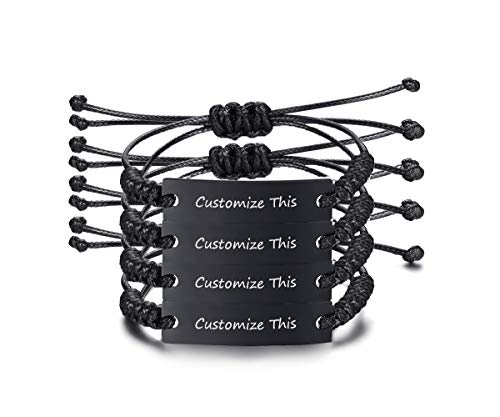 VNOX Customize Friendship Bracelet for 4 Handmade Braid Rope Black Stainless Steel ID Adjustable Wristband -