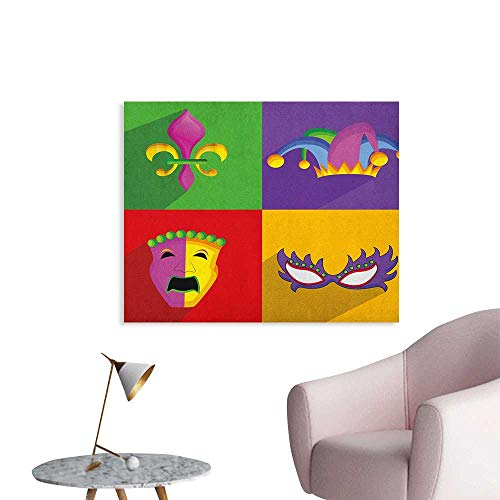 Anzhutwelve Mardi Gras Wall Paper Colorful Frames with Mardi Gras Icons Masks Harlequin Hat and Fleur De Lis Print Poster Print Multicolor W36 xL32