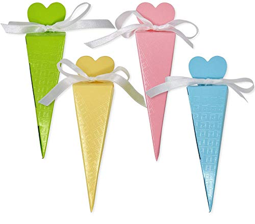 50 Heart Cone Favor Boxes Party Supplies Guest Candy Goodie Treat Bags Decorations for Wedding Reception Birthday Celebration Baby Bridal Shower Girls Boys Light Pink Blue Yellow & Bright Green -