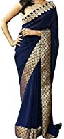 sarees Center Women's Georgette Saree With Blouse Piece (Nx - 167 ,Blue Free Size)