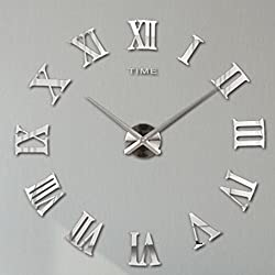 3D Large Clock,Hmane Acrylic Mirror Roman Numerals Frameless Mirror Surface Oversized DIY Art Clock Home Décor--Silver