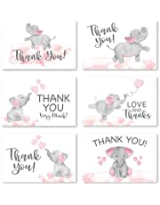 24 Pink Elephant Baby Shower Thank You Cards With Envelopes, Kids Thank You Note, Animal 4x6 Varied Gratitude Card Pack For Party, Girl Children Birthday, Cute Event Appreciation Stationery